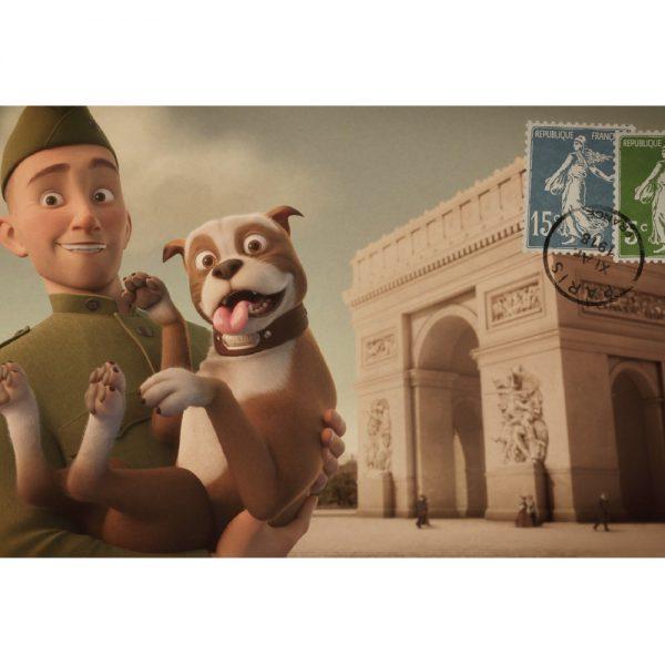Postcard - Stubby and Conroy at the Arc de Triumphe