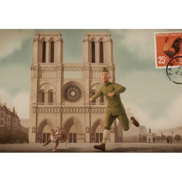 Postcard - Stubby and Conroy at Notre Dame