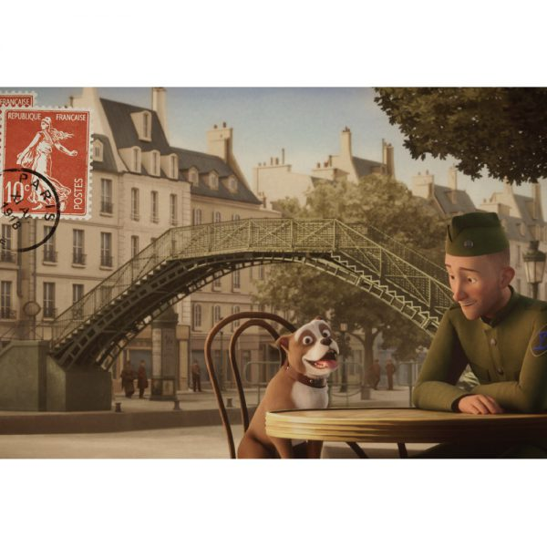 Postcard - Stubby and Conroy at a Cafe in Paris