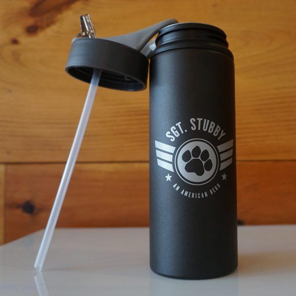 Sgt. Stubby water bottle opened